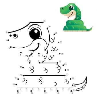 Jeu de nombres d'éducation. jeu de point à point. caricature de serpent