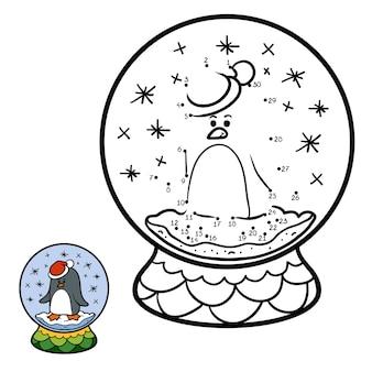 Jeu de nombres, jeu d'éducation point à point pour les enfants, boule de neige d'hiver avec pingouin