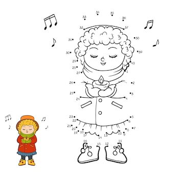 Jeu de nombres, jeu d'éducation point à point pour les enfants, fille chantant une chanson de noël