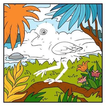 Jeu de nombres, jeu d'éducation point à point pour enfants, ibis écarlate