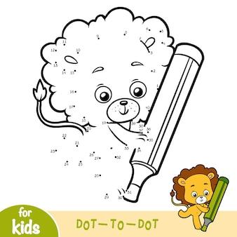 Jeu de nombres, jeu de point à point de l'éducation pour les enfants, lion