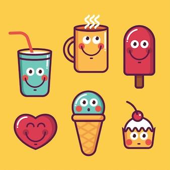 Jeu de nourriture tendance, glace kawaii, coeur, tasse, sucré