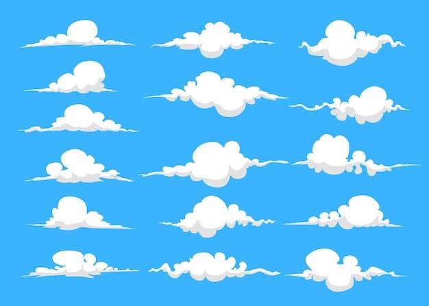 Jeu de nuages de dessin animé