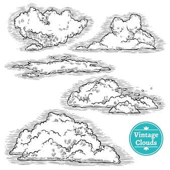 Jeu de nuages dessinés à la main