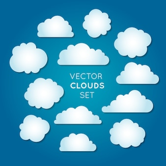 Jeu de nuages vectoriels, nuages dégradés radiaux blancs