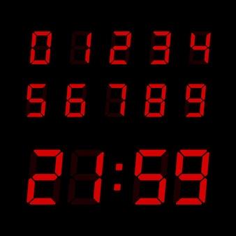 Jeu de numéros d'horloge numérique vectorielles. chiffres électroniques pour la conception d'interfaces différents types d'appareils.