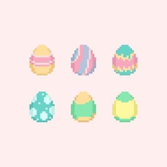 Jeu d'oeufs de pâques de couleur pastel pixel