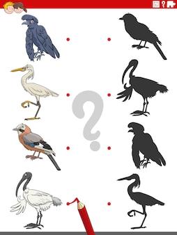 Jeu d'ombre éducatif avec des personnages d'oiseaux de dessins animés