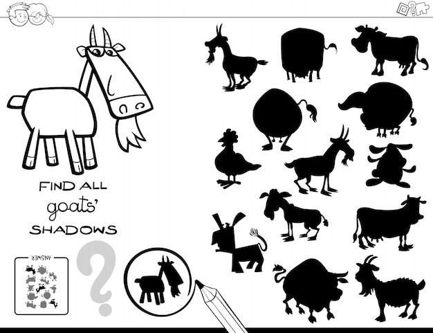Jeu d'ombre avec livre de couleur de chèvres