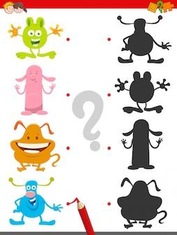 Jeu d'ombre avec des personnages de monstres mignons