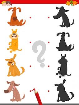 Jeu d'ombre pour les enfants avec des chiens de dessin animé