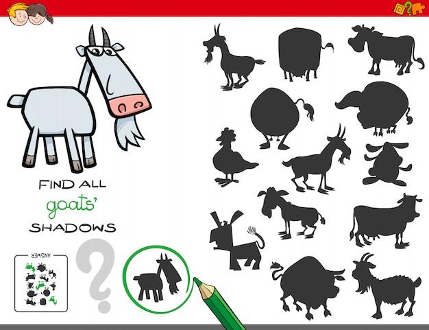 Jeu D'ombres Avec Des Caractères De Chèvres Vecteur Premium
