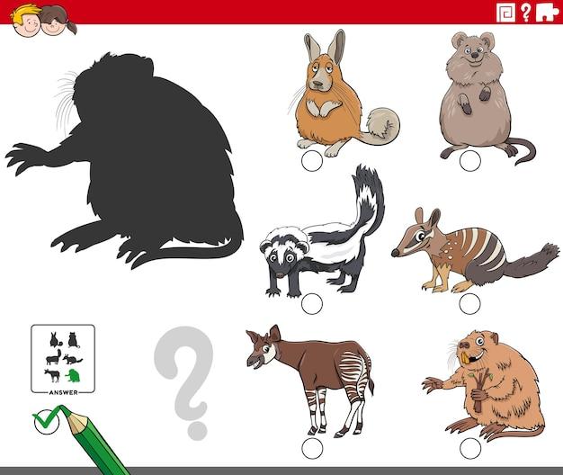 Jeu d'ombres éducatif avec des personnages d'animaux de dessin animé