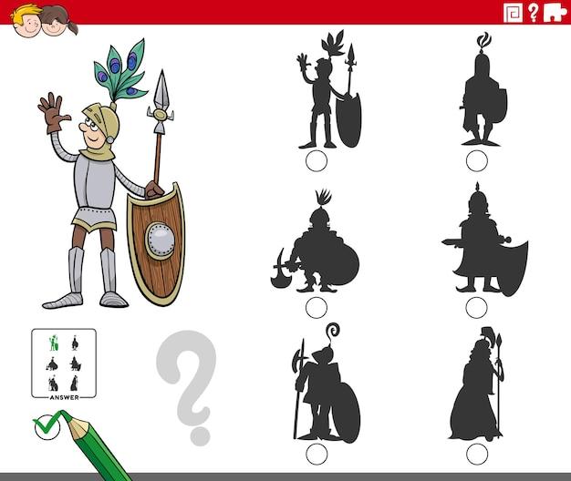 Jeu d'ombres avec page de livre de coloriage de personnage de chevalier de dessin animé