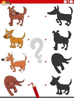 Jeu d'ombres avec des personnages de chiens comiques