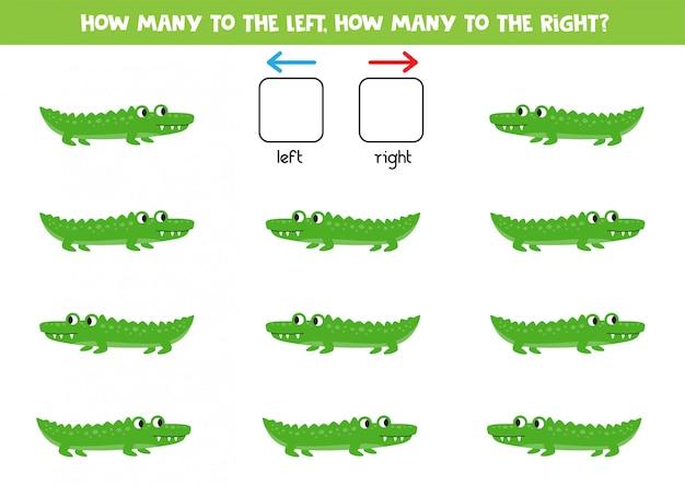 Jeu d'orientation spatiale avec des crocodiles de dessin animé. jeu logique pour les enfants.