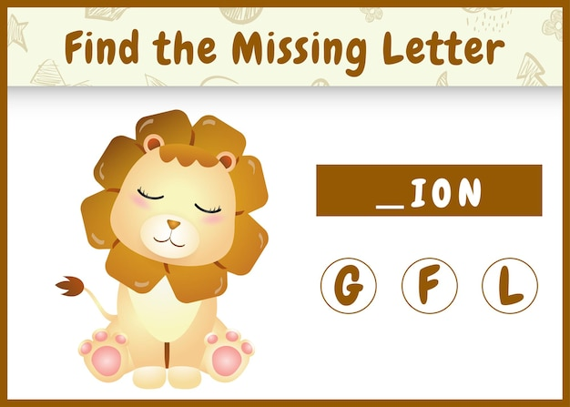 Jeu d'orthographe éducatif pour les enfants qui trouvent une lettre manquante avec un lion mignon