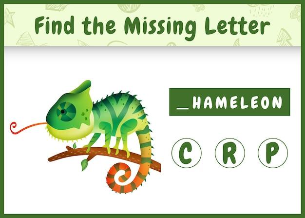 Jeu d'orthographe éducatif pour les enfants à la recherche d'une lettre manquante avec un joli caméléon