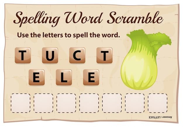 Jeu d'orthographe mot brouillon avec mot laitue