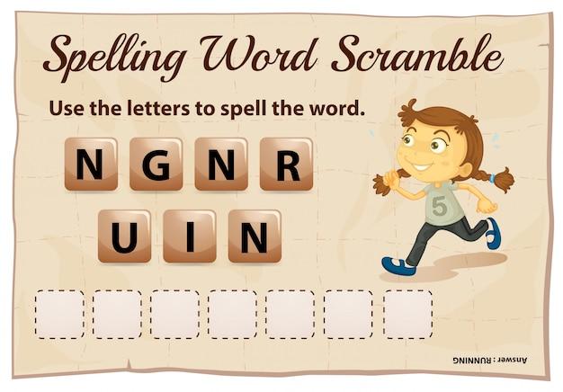 Jeu d'orthographe de mots brouillés avec mot en cours d'exécution
