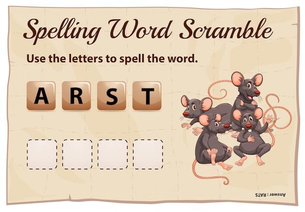 Jeu d'orthographe de mots brouillés pour les rats de mots