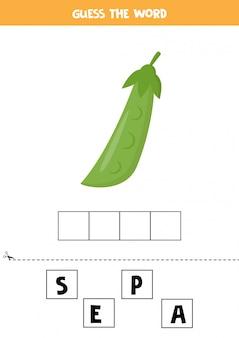 Jeu d'orthographe avec des pois verts de dessin animé mignon.
