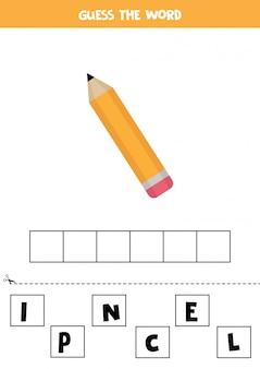 Jeu d'orthographe pour les enfants avec un crayon de dessin animé.