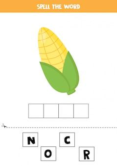 Jeu d'orthographe pour les enfants avec des épis de maïs de dessin animé.