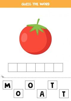 Jeu d'orthographe pour les enfants. tomate rouge de dessin animé.