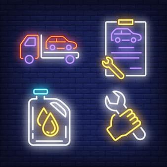 Jeu de panneaux de signalisation au néon pour voiture, clé, presse-papiers et bidon d'huile