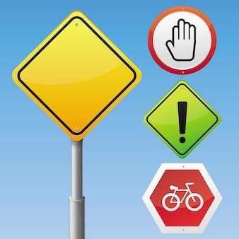 Jeu de panneaux de signalisation de vecteur