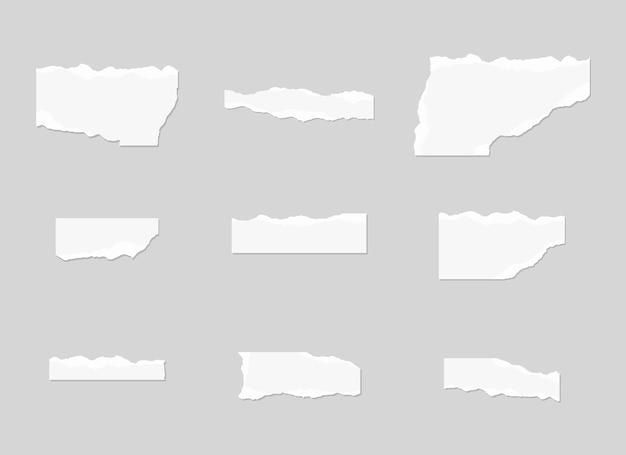 Jeu de papier déchiré. ensemble de papier déchiré.