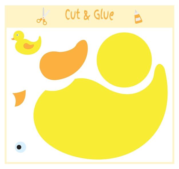 Jeu de papier éducatif pour le développement des enfants d'âge préscolaire. découpez des parties de l'image et collez sur le papier. illustration vectorielle. utilisez des ciseaux et de la colle pour créer l'applique. canard.
