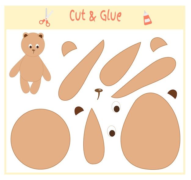 Jeu de papier éducatif pour le développement des enfants d'âge préscolaire. découpez des parties de l'image et collez sur le papier. illustration vectorielle. utilisez des ciseaux et de la colle pour créer l'applique. ours en peluche.