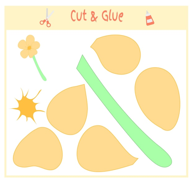 Jeu de papier éducatif pour le développement des enfants d'âge préscolaire. découpez des parties de l'image et collez sur le papier. illustration vectorielle. utilisez des ciseaux et de la colle pour créer les appliques.flowers.