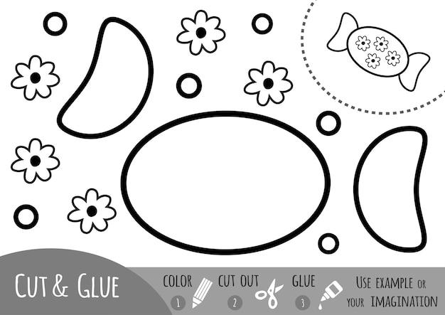 Jeu de papier éducatif pour enfants, bonbons. utilisez des crayons de couleur, des ciseaux et de la colle pour créer l'image.