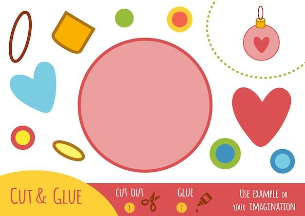 Jeu de papier éducatif pour enfants, boule de noël. utilisez des ciseaux et de la colle pour créer l'image.