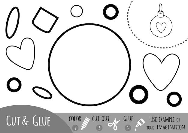 Jeu de papier éducatif pour les enfants boule de sapin de noël utilisez des crayons de couleur, des ciseaux et de la colle