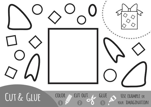 Jeu de papier éducatif pour enfants, cadeau. utilisez des crayons de couleur, des ciseaux et de la colle pour créer l'image.