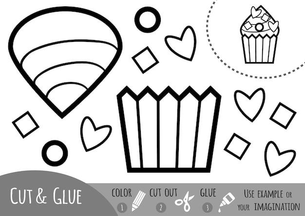 Jeu de papier éducatif pour enfants, cupcake. utilisez des ciseaux et de la colle pour créer l'image.