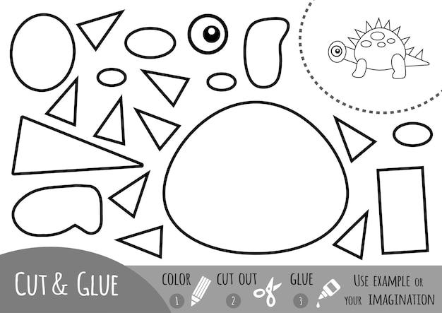 Jeu de papier éducatif pour enfants, dinosaure. utilisez des ciseaux et de la colle pour créer l'image.