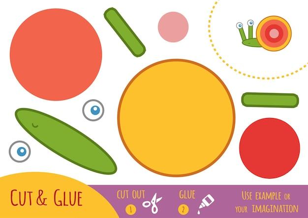 Jeu de papier éducatif pour enfants, escargot. utilisez des ciseaux et de la colle pour créer l'image.