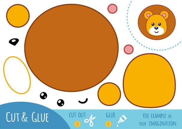 Jeu de papier éducatif pour enfants, lion. utilisez des ciseaux et de la colle pour créer l'image.