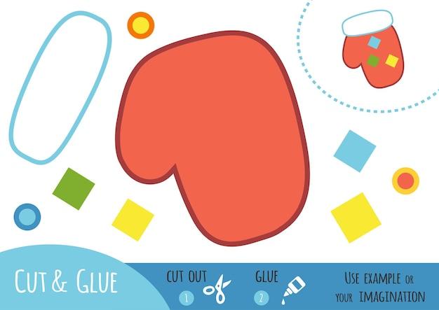 Jeu de papier éducatif pour enfants, mitten. utilisez des ciseaux et de la colle pour créer l'image.