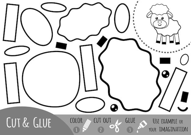 Jeu de papier éducatif pour enfants, mouton. utilisez des ciseaux et de la colle pour créer l'image.