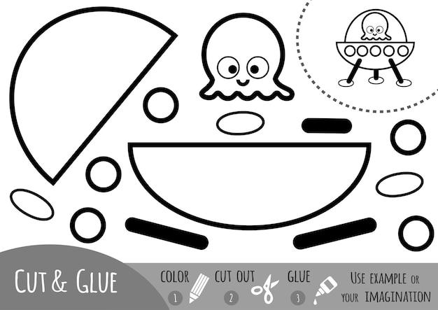 Jeu de papier éducatif pour enfants, ovni. utilisez des ciseaux et de la colle pour créer l'image.