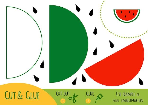 Jeu de papier éducatif pour enfants, pastèque. utilisez des ciseaux et de la colle pour créer l'image.