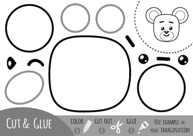Jeu de papier éducatif pour enfants, souris. utilisez des ciseaux et de la colle pour créer l'image.