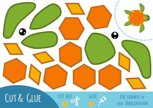 Jeu de papier éducatif pour enfants, tortue. utilisez des ciseaux et de la colle pour créer l'image.