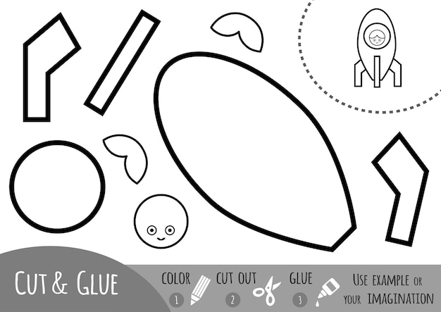 Jeu de papier éducatif pour enfants, vaisseau spatial. utilisez des ciseaux et de la colle pour créer l'image.